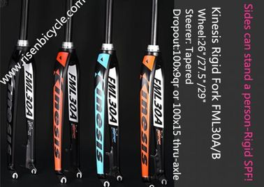 China Lightweight MTB Rigid Fork FML30A 26/27.5/29ER Aluminum Alloy Dropout 9qr Tapered Bicycle Fork distributor