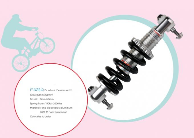 Bicycle Coil Spring Suspension Shock 150-2000LBS for Wheelchair Length 80-200mm 6061 Aluminum Travel 18-35mm